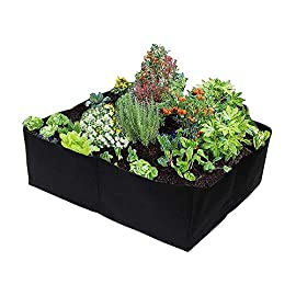 Raised Garden Bed,Divided 4 Grids Fabric Raised Planting Bed Square Garden Grow Bag for Herb Flower Vegetable Plants,2 x… 2 ★Premium Material - Made of a proprietary fabric material, a highly durable, UV resistant, non-woven fabric that provides exceptional air flow throughout the soil and root systems and allows excess moisture to easily drain away. Neat And Organized : If you're growing in your back garden you don't want to ruin your view with an untidy plot. Gardzen divided vegetable beds create a neat, easy to manage growing area. Unique design:It was divided into 4 regions,convient to plant different plants.