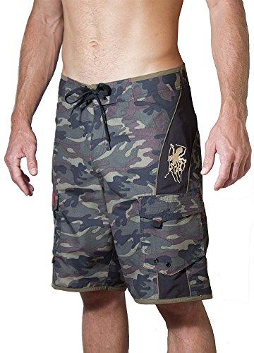 Maui Rippers Men's Camo Board Shorts - The Octopus   Quick Dry Triple Stitch Swim Trunks (38, Black/Green)