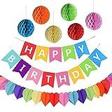 AMEITECH Fiesta de Cumpleaños Favores, Feliz Cumpleaños Decoración Banner con 6 Pack Honeycomb Balls y una Rainbow Paper Garland, Party Supplies
