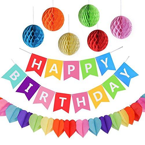 """AMEITECH Kit Decorazione Festa di Compleanno, Striscione """"Happy Birthday"""" con 6 Sfere a Nido d'Ape e Una Decorazione di Carta Arcobaleno, Party Kit"""