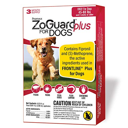 ZoGuard Plus Flea and Tick Prevention for Dogs, Large, 45-88 lbs (3 Dose)