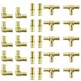 (30) 1/2' Brass PEX Fittings 10 Each Elbow TEE Coupler Reducer Lead Free Crimp Cinch PEX GUY
