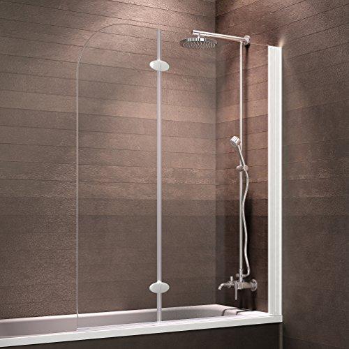 Schulte Badewannenfaltwand 2-teilig Komfort zum Kleben, 112 x 140 cm, 5 mm Sicherheitsglas (ESG) Klar hell, Alpinweiß, Duschabtrennung für Badewanne, Duschwand mit Teilrahmung