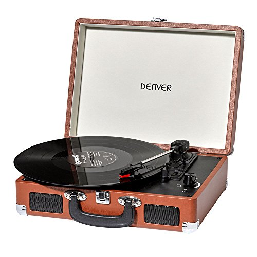 Denver Retro USB platen, speler PC Turntable Vinyl DJ USB MP3 luidspreker VPL-120 Brown