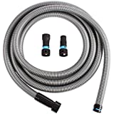 Cen-Tec Systems 94126 20 Ft. Hose for Home and Shop Vacuums with Multi-Brand Power Tool Adapter for Dust Collection, Silver