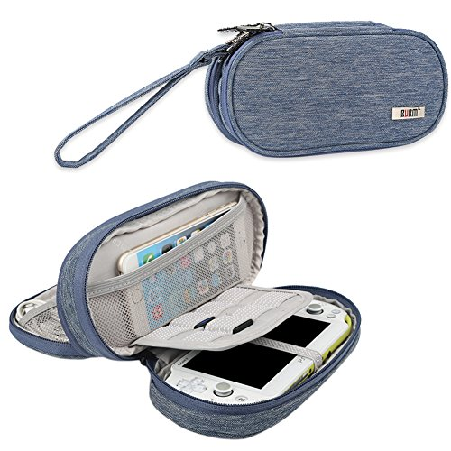 BUBM Double Compartment Storage Case Compatible with PS Vita and PSP, Protective Carrying Bag, Portable Travel Organizer Case Compatible with PSV and Other Accessories, Blue