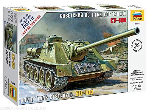 "Zvezda 5044 - Soviet Tank Destroyer SU-100 - Plastic Model Kit Scale 1/72 81 Details Lenght 5.25"""