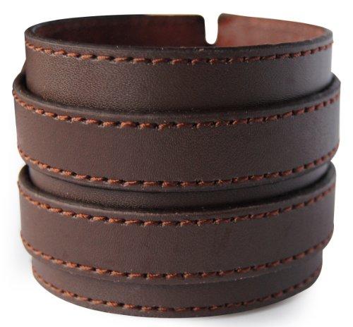 axy LAB1-13 LEDERARMBAND BREIT Serie! ECHT Leder Armband Leather Bracelet! Surferarmband Herren Schmuck (Braun/Brown)