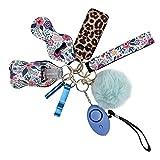 Llavero de alarma de bolsillo para mujer, con alarma de pánico y linterna multifunción para mujer, 10 unidades (azul)