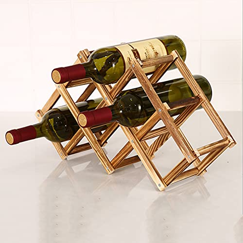 JSKK Madera Estante para Botellas,Plegable Estantes De Vino,Cocina Madera De Pino Estante De Vino,Bodega Bodega Trastero Botellero-Carbonatación 6 Botellas