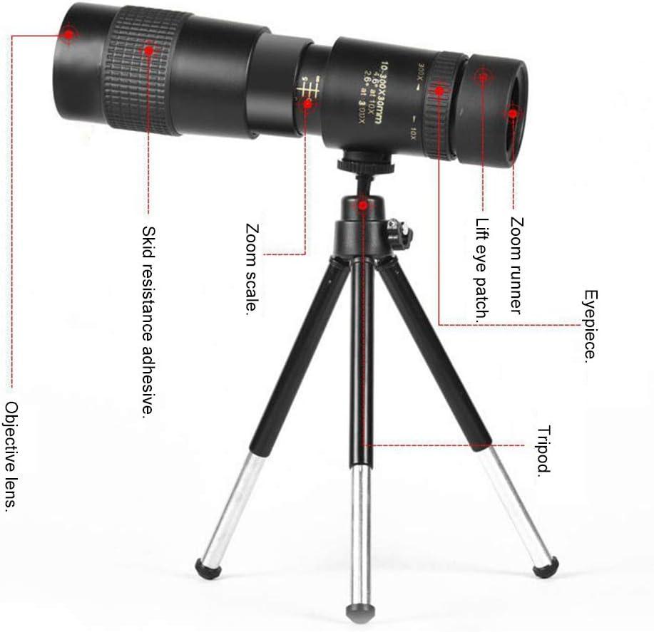 conciertos Telescopios monoculares partidos de f/útbol 4K 10-300X40mm Super Teleobjetivo Zoom Telescopio monocular con soporte para tel/éfono inteligente Tr/ípode para viajes observaci/ón de aves