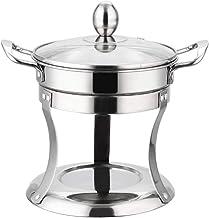 Acero shabu shabu inoxidable no magnético estufa de alcohol Pequeño Pot Set cubierta de cristal, D (Color : D)