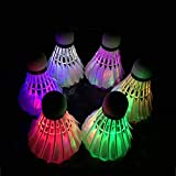 Stellax Zone LED Badminton Shuttlecocks Lighting Birdies Shuttlecock Glow in The Dark Badminton for Indoor/Outdoor Sports Activities which Comes with 3 to 6, Gift Game, (6Pack)