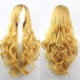ColorfulPanda 28 Pulgadas/70cm dorado largo rizado ondulado pelo Halloween Cosplay fiesta Pelucas para mujeres niñas Lolita estilo anime peluca (Amarillo dorado)