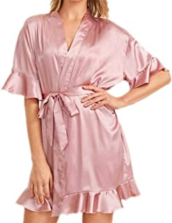 Silk Cloth Pajamas, V-Neck Cardigan Dressing Gown, Ladies Nightdress, Casual Home wear, Lotus Leaf lace, Belt Design, Soft and Comfortable (Color : Pink, Size : XL)