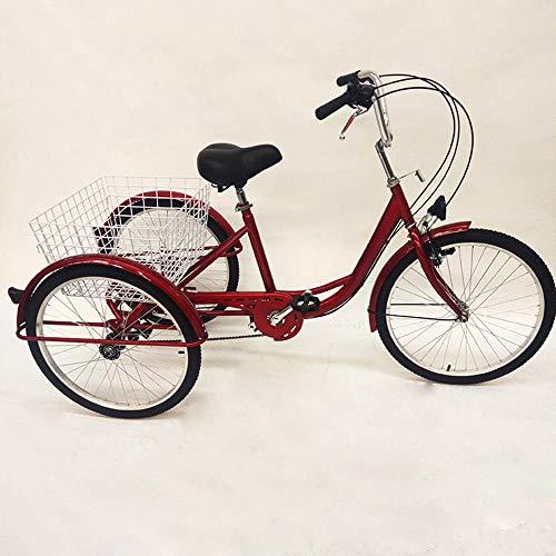 Triciclo para adultos de 24 pulgadas + luz + cesta de 6 velocidades (triciclo rojo con luces)