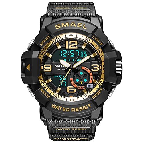 QZPM Relojes Deportivos Digital para Hombre, con Retroiluminación Alarma 50M Resistente Al Agua Multifuncional Grande De La Cara Militar Relojes Electrónicos,Oro