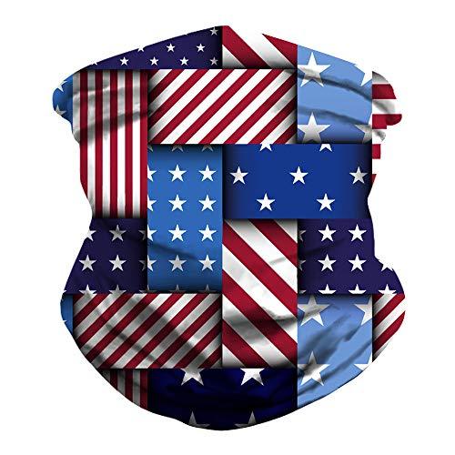 ShaggyDogz American Flag Seamless Rave Bandana Neck Gaiter Tube Headwear Bandanas for Dust Outdoors Festivals Sports, Motorcycle Face Bandana for Women Men Face Scarf (Multicolour)