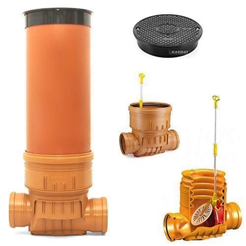 Kontrollschacht Revisionsschacht DN400 Rückstauklappe 2 x Ø160 mm Abwasserschacht.