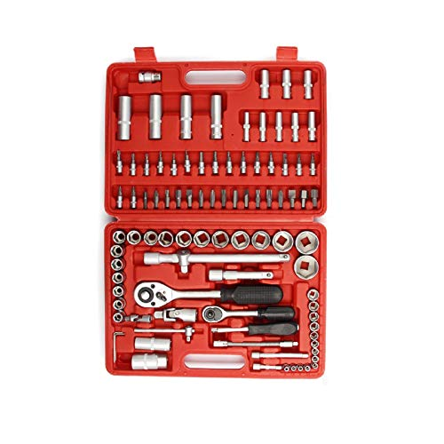 GTFHUH 94 Pcs Socket Set 37 * 27 * 7cm Socket Set Ratchet Socket Set Screwdriver Bit Tool Torx Ratchet Driver Kit