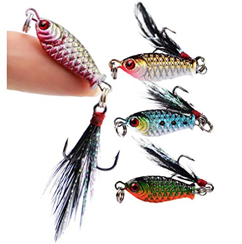 DOITPE 4PCS Fishing Jigs Spoon Fishing Lures Sinking Jig Fish Baits Nickel Treble Hooks with Feather Metal Sequins Bait in Freshwater and Saltwater (Combo-A(4PCS))