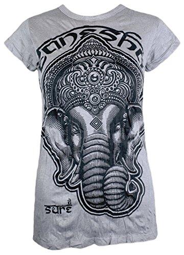 Sure Damen T-Shirt - Ganesha Größe S M L Indien Elefanten Gott Hindu Goa Trance Festival Yoga Buddha (Hellgrau M)