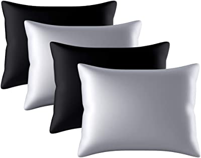 Satin Pillowcase for Hair and Skin, King Pillow Cases Set of 4 Pack Super Soft Silky Black Pillow Case with Zipper Closure(20x26 inches)