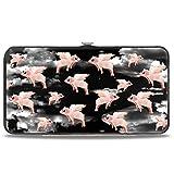 Buckle-Down womens Buckle-down Hinge - Flying Pigs Black/White/Pink Wallet, Multicolor, 7 x 4 US
