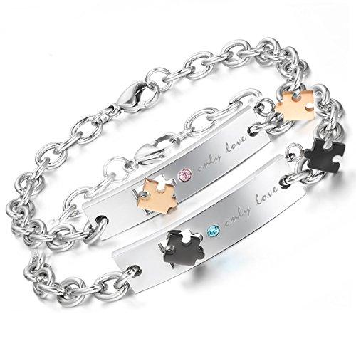 Aroncent 2PCS Herren Damen Armband, Lieben Freundschaftsarmband Partnerarmband Armreif, Only Love & Puzzle Design, Strass Edelstahl, Gold Schwarz Silber