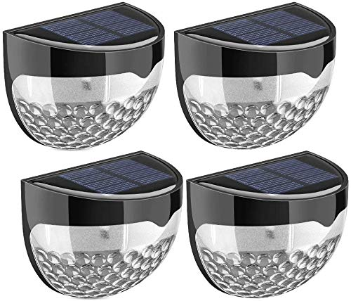 Pertop Luz solar,Lampara Solar Seguridad, Luz de Valla al Aire Libre Luz Pared Solar Impermeable para Casa, Garaje, Cobertizo, Pasillos, Escaleras (Negro, 4 Unidades)