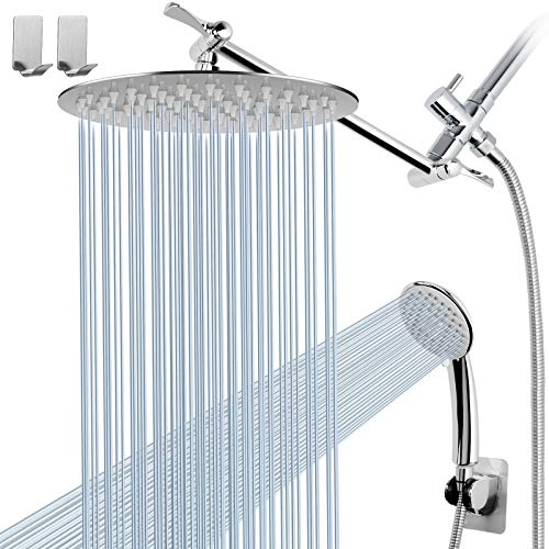 Round Shower Head Combo with 11'' Extension Arm,High Pressure 8' Rain Shower Head with Handheld Shower Spray and Holder/ 1.5M Hose,Dual Rainfall Showerhead Set, Chrome