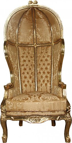 Casa Padrino Barock Thron Sessel Victory Gold Barock Muster/Gold Mod2 - Balloon Chair -Thron Stuhl Tron