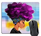 Wknoon African Women with Purple Hair Fashion Hairstyle Mouse Pad Custom Design, Beautiful African Girl Cute Bubbles Mouse Pads Cute Funny Mousepad 9.5 X 7.9 Inch (240mmX200mmX3mm)
