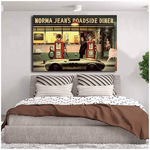 Nbqwdd Destiny Highway Norma Jean's Roadside Diner Kunst Leinwand Poster Gemälde Wandbild Druck Home Schlafzimmer Dekoration Kunstwerk HD-24x36 Zoll No Frame