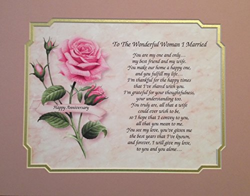 "Anniversary Gift For Wife ""To The Wonderful Woman I Married"" Love Poem With Pink Rose Background 1st 2nd 5th 10th 15th 20th 25th 30th 35th"
