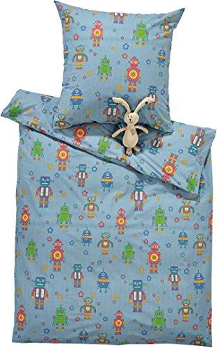Golden Lutz MERADISO® Kinder Bettwäsche Renforcé, 100% Baumwolle (hellblau - Roboter, 135 x 200 cm)