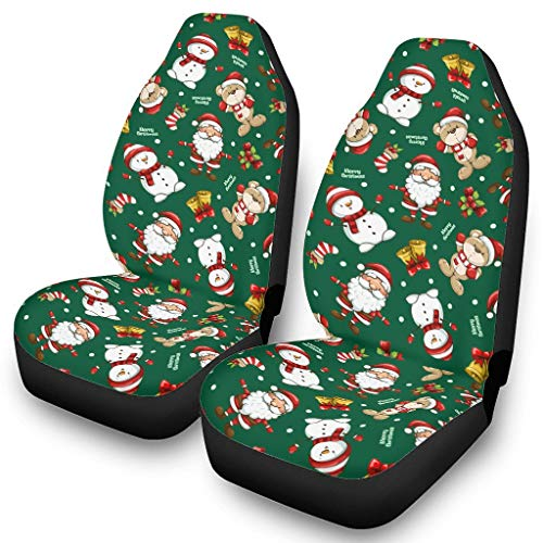 Ainiteey Santa Claus Christmas Bear Green Front Car Seat Covers Multi-Color,Easy to Put on The Seat white onesize