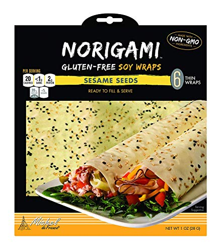Norigami Egg Wraps Soy Protein-High Protein, Low Carb, Vegetarian Thin Healthy Wrap for Sandwiches-Ready To Fill And Serve-Certified Kosher,Non GMO,Gluten Free-6 Wraps-Soy Wrap Sesame Seeds(4 Packs)