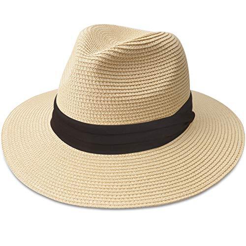 Maylisacc Panama Hut Unisex Stroh Sonnenhut Sommer Fedora Beach Hut für Männer, Frauen,B-Beige-SZ,M