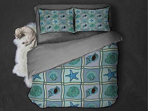 Toopeek Starfish 3-pack (1 duvet cover and 2 pillowcases) Marine Patchwork Style Inspired Pattern with Ropes Starfishes and Seashells Print Polyester (Full) Multicolor