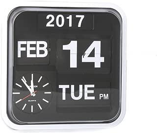 Homeloo Fartech Retro Modern 12 Inches Calendar Auto Flip Desk Wall Clock (White)