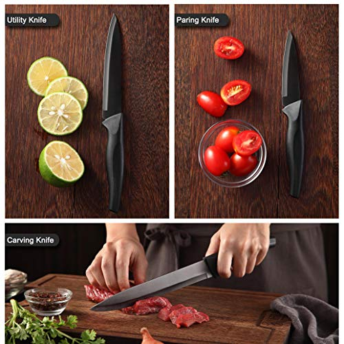 Wanbasion 6 Pieces Matte Black Titanium Plated Knife Set Stainless Steel Forged Kitchen Knife Set Sharp Professional Knife Set with Sheath, Scratch Resistant And Rust Proof, For Chef Cooking Cutting