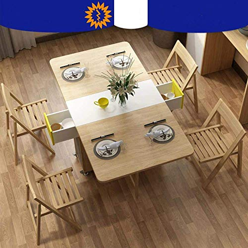 Shozafia Foldable Kitchen Table, Rolling Wood Folding Dining Table (Chairs Not Included) on Wheels for Small Spaces, Space-Saving Dining Set