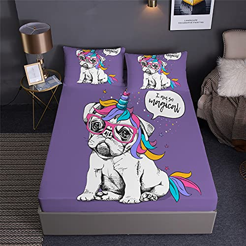 DDD PLUS Pets Dog French Bulldog Fitted Sheet with Pillowshams Twin Full Queen Size Magical Colorful Hair Dog Cute Cartoon Puppy Bed Sheet Bedding Set 3 PCS (A,Twin:75' x 39'x14')