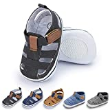 Meckior Summer Baby Infant Boys Beach Sandals Canvas Toddler Soft Sole Non-Slip Closed Toe First Walkers Shoes