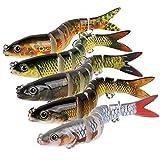 litulituhallo Señuelos de pesca multi articulado bajo 3d ojos señuelo doble gancho cebos artificiales acero al carbono 5 unids