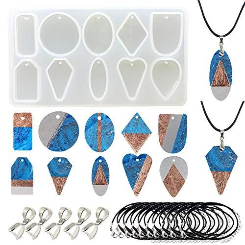 Woohome 10 Cavity Stampo Silicon Ciondolo Geometria Muffa di Silicone Stampo di Gioielli per Resina, Corda di Cera Nera per Creazione di Gioielli