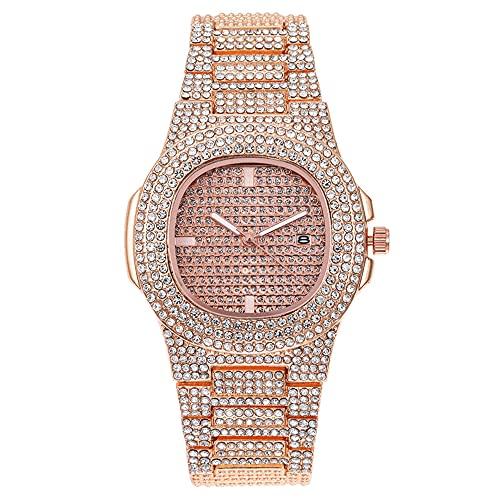 YZOTEK Reloj de pulsera de cuarzo para hombre, unisex, de lujo, analógico, clásico, de cuarzo, con calendario, de acero inoxidable, con diamantes de imitación, para hombres y mujeres, oro rosa,