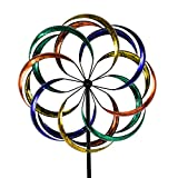 WinWindSpinner 3D Kinetic Wind Spinners with Stable Stake Metal Garden Spinner with Reflective Painting Unique Lawn Ornament Wind Mill for Outdoor Yard Lawn Garden Decorations
