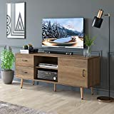 HOMECHO TV Stand for TVs up to 60', Mid-Century Modern Entertainment Center with Storage, TV Cabinet with Adjustable Shelves and Drawers, Media Console for Living Room, Rustic Brown